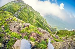 Beautiful first-person view from a high mountain, distortion perspective fisheye lens view stock photo