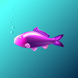 The Beautiful fish under the water in the game style. Beautiful fish under the water in the game style Royalty Free Stock Image