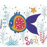 Beautiful fish. Vector beautiful sea with colorful. Stylized funny fish. Cartoon vector illustration.Fish in the algae.Marine illustration. Underwater life Royalty Free Stock Images