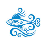Beautiful fish and waves - creative vector illustration in graphic line style. Fish concept illustration in blue color.  Royalty Free Stock Images