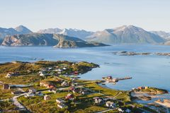 Fisherman village Sommaroy  in Norway. Beautiful fisherman village in Norway, stunning aerial panoramic landscape Stock Photos