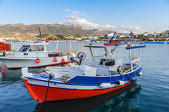 Beautiful fishing boat staing parked at harbour of Sitia town on Crete island, Greece Royalty Free Stock Image