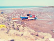 Two fishing boat on beach. royalty free stock photos