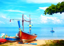 Beautiful fishing boats on tropical beach, Gulf of Siam Stock Photo