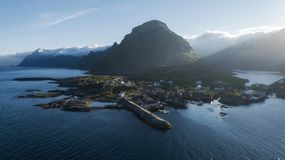 Beautiful fishing village of Moskenes in the sunset light, Lofoten islands stock images