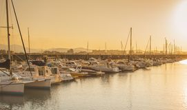 Beautiful sunset from a fishing village. Laredo, Cantabria, Spain royalty free stock photography