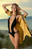 Beautiful and fit fashion model in swimsuit. Royalty Free Stock Photography