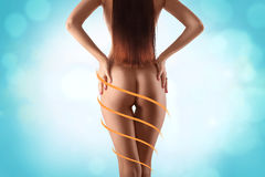Beautiful and fit female body with the drawing arrows. Plastic s Royalty Free Stock Image