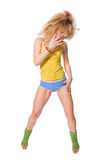 Beautiful fit girl exercising on white background Stock Photography