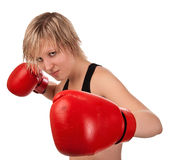 Beautiful fit girl in red boxing gloves Stock Image