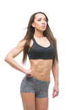 Beautiful fit girl in sport bra and shorts Stock Images
