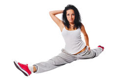 Beautiful fit girl on white background Royalty Free Stock Photo