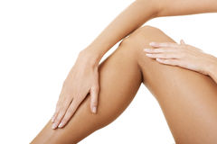 Beautiful fit long female legs. Royalty Free Stock Images