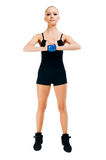 Beautiful fit red girl working out Royalty Free Stock Photo