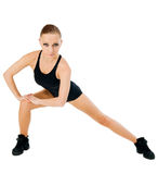 Beautiful fit red girl working out Stock Images
