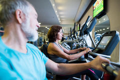 Beautiful fit senior couple in gym doing cardio work out. Stock Images