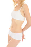 Beautiful fit slim woman body in white underwear Stock Images