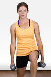 Beautiful, Fit woman doing free weight training Royalty Free Stock Photo