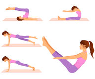 Beautiful fit woman doing pilates exercises Royalty Free Stock Photos