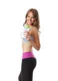 Beautiful fit woman drinking protein shake Stock Photos