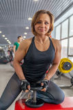 Beautiful fit woman exercising building muscles Stock Image