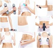 Beautiful and fit woman in a fitness workout. Isolated collage. Sport, nutrition, health and weight loss concept. White background stock photo