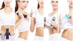 Beautiful and fit woman in a fitness workout. Isolated collage. Sport, nutrition, health and weight loss concept. White background royalty free stock photography