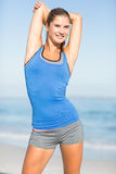 Beautiful fit woman stretching her arm Royalty Free Stock Images