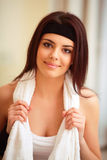 Beautiful fit woman with towel Royalty Free Stock Photography