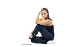 Beautiful fit woman wearing sports wear isolated over white back Royalty Free Stock Photography