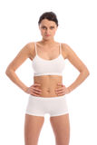 Beautiful fit woman in white sports bra and briefs Royalty Free Stock Photography