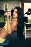 Beautiful fit woman working out in gym - girl in fitness Stock Photos