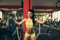 Beautiful fit woman working out in gym - girl in fitness Stock Images