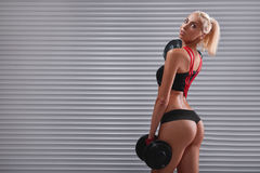 Beautiful fit young sportswoman exercising with dumbbells Stock Images
