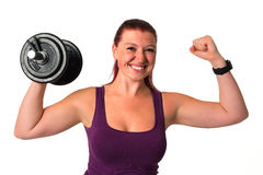 Beautiful fitness female with dumbbell Stock Photography