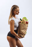 Beautiful fitness girl, background white Royalty Free Stock Image