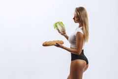 Beautiful fitness girl, background white Royalty Free Stock Images