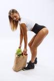 Beautiful fitness girl, background white Stock Photos