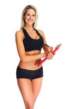 Beautiful fitness girl with a clipboard. Royalty Free Stock Photography