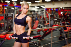 Beautiful fitness girl with dumbbells in the gym looking to the side, the background beautifully blurred Stock Photos