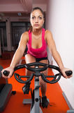 Beautiful fitness girl exercising on bicycle in sports gym Stock Images