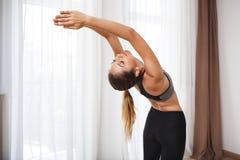 Beautiful fitness girl  make sport exercises Stock Image