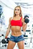 Beautiful fitness model with dumbbells Royalty Free Stock Photo