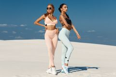 Free Beautiful Fitness Models In Sportswear. Couple Athletic Girls In Leggings Outdoor Stock Photos - 158669473