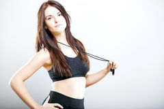 Beautiful fitness trainer in sports bra and whistle Royalty Free Stock Photo