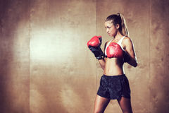 Beautiful Fitness Woman Boxing with Red Gloves Royalty Free Stock Images