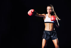 Beautiful Fitness Woman Boxing with Red Gloves Stock Image