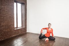 Beautiful fitness woman doing ashtanga poses. Yoga concept. Studio shots royalty free stock image