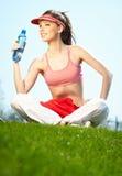 Beautiful Fitness Woman Drinking Water Stock Photo