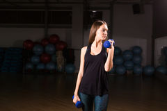 Beautiful fitness woman with dumbbells . Sporty woman lifting light weights. Fit girl exercising building muscles Royalty Free Stock Photography